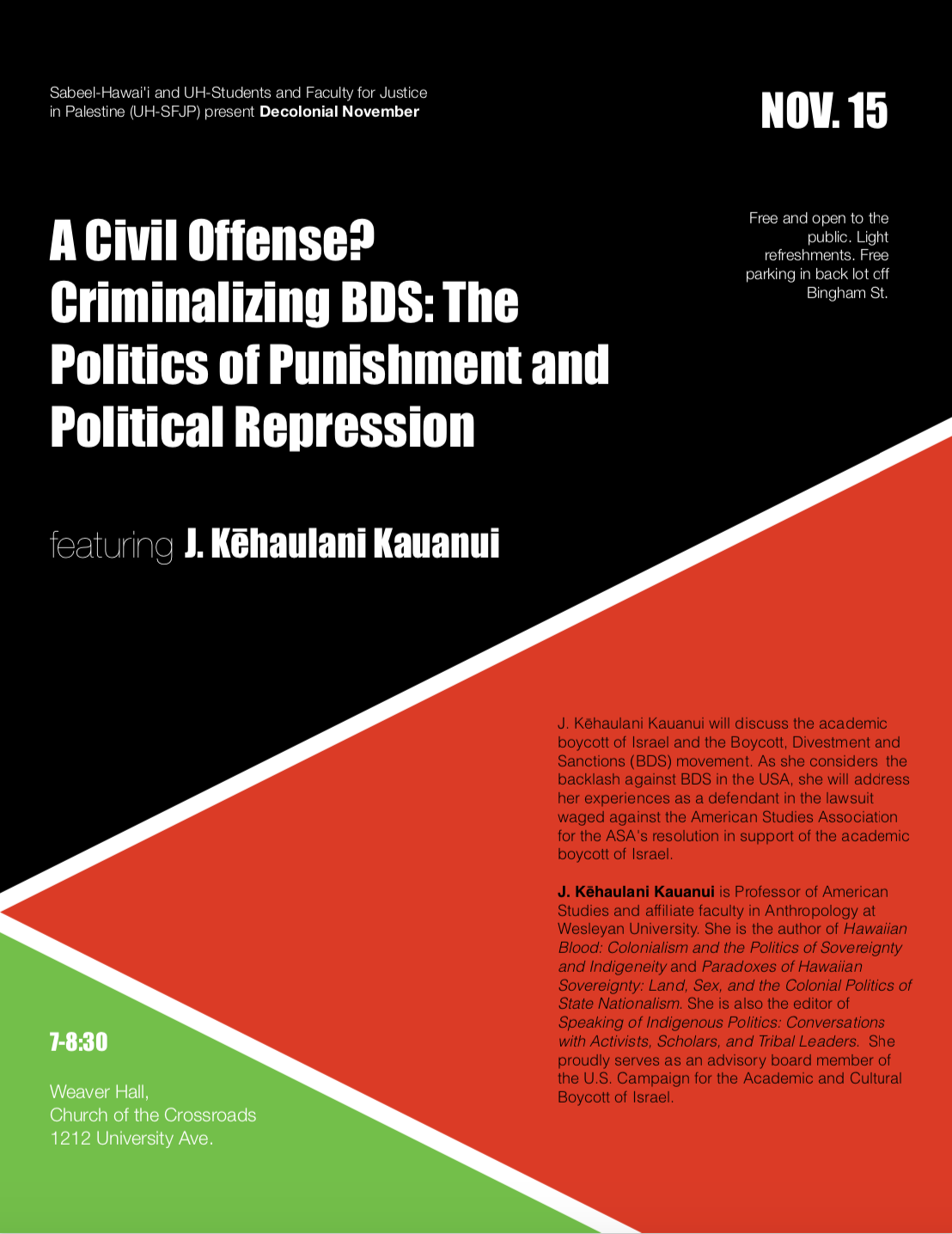 A Civil Offense? Criminalizing BDS: The Politics of Punishment and Political Repression, J. Kēhaulani Kauanui